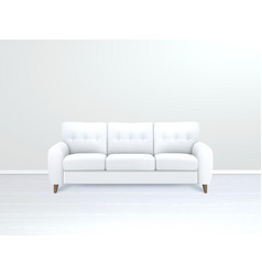 Interior with white leather sofa vector
