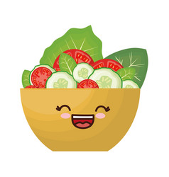 Kawaii salad bowl icon vector