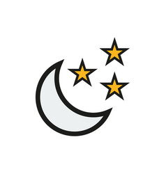moon and stars icon on white background vector image vector image