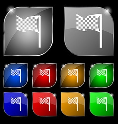 Racing flag icon sign set of ten colorful buttons vector