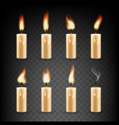realistic candle with fire animation icon vector image vector image