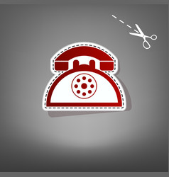 Retro telephone sign red icon with for vector