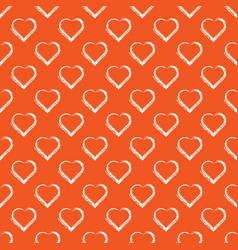 seamless pattern of white hand draw hearts vector image