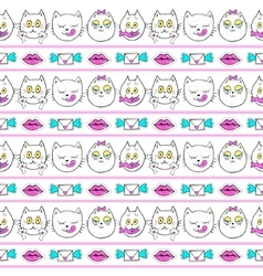 Seamless pattern with fashion patch badges cats vector
