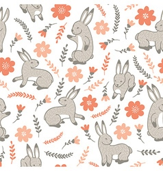 seamless pattern with rabbits and flowers vector image vector image