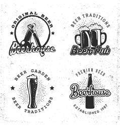 Set of logos beer concept labels in retro style vector