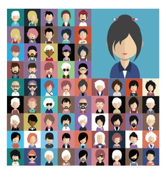 Set of people icons in flat style with faces 07 a vector