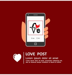 Sharing love message on social media vector