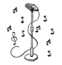 Simple black and white microphone on a stand vector