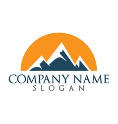 snowy mountain and sun logo design vector image vector image