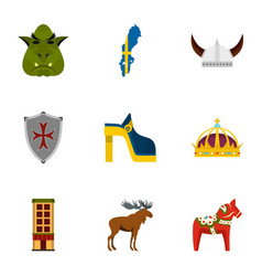 Sweden travel icons set flat style vector