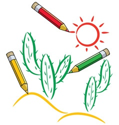 vector pencils draw cactus and sun in desert vector image vector image