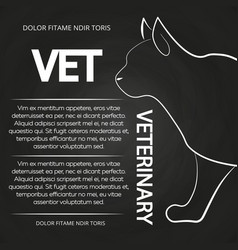 veterinary chalkboard poster with cat silhouette vector image vector image