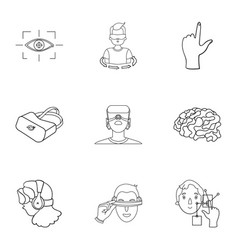 Virtual reality set icons in outline style big vector