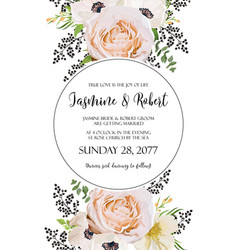 Wedding floral invitation invite watercolor vector
