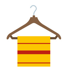 Yellow scarf on wooden coat hanger icon isolated vector