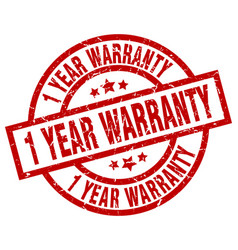 1 year warranty round red grunge stamp vector