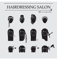 Hairdressing salon icons vector image