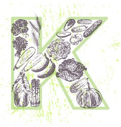 Ink hand drawn fruits and vegetables vitamin k vector