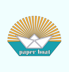 Logo is a paper boat in the sun vector