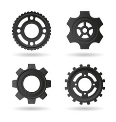 Gear wheels icons set vector