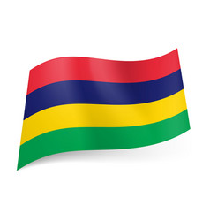 National flag of mauritius red blue yellow and vector