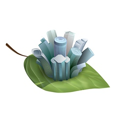 Skyscrapers growing from a green leaf vector