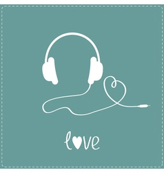 White headphones and cord in shape of heart vector