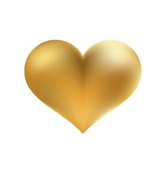 Golden shiny heart shape isolated EPS8 vector image