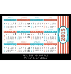 Pocket calendar 2015 start on sunday vector