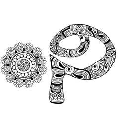 Letter p decorated in the style of mehndi vector