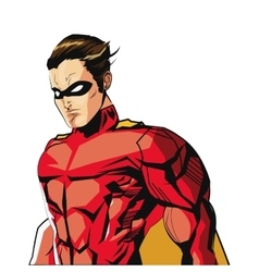 Comic style male superheroe with red uniform icon vector