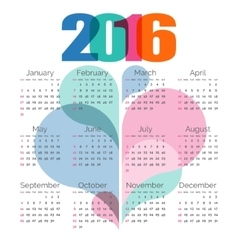 Abstract colorful calendar 2016 vector