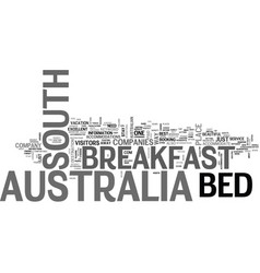 Bed and breakfast south australia text word cloud vector