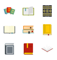 Books learning icons set flat style vector