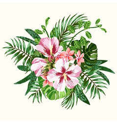 Bouquet of tropical flowers and leaves vector image