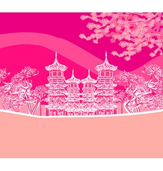 Buddhist zen temple vector
