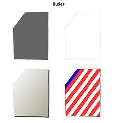 Butler map icon set vector