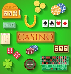 Casino elements flat design modern of casino items vector