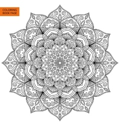 Coloring book page with flower mandala vector