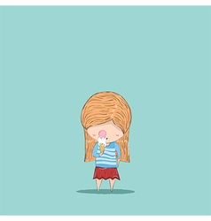 Cute cartoon eat ice cream girl drawing by hand vector image