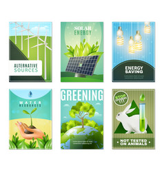 Ecology 6 mini banners collection vector