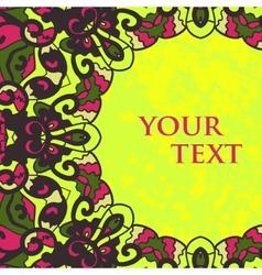 Folk motif frame for text design vector