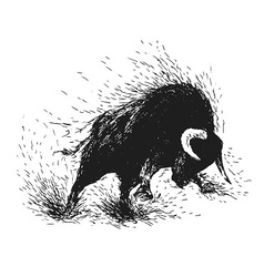 Hand drawing of a raging bull vector