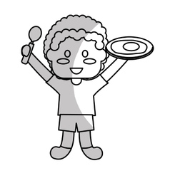 Happy child with healthy eating related icons vector