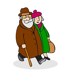 Happy elderly couple walking funny older man vector