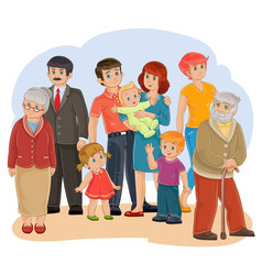 Happy family - great-grandfather great vector