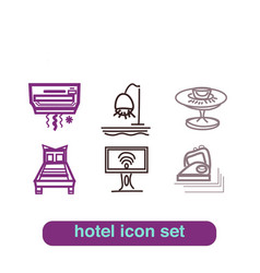 Hotel service icon thin line art set pixel perfect vector