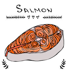 image steak of red fish salmon for seafood menu vector image