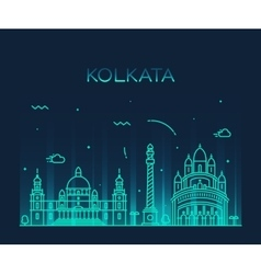 Kolkata skyline trendy linear vector